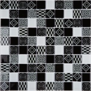 300*300mm Black Mix White Glass Mosaic pictures & photos
