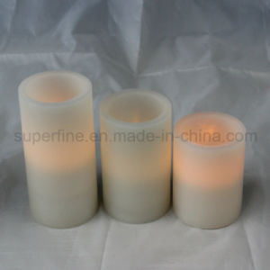 Romantic Realistic Amber Candle Flickering Flameless Wax LED Pillar Candle pictures & photos