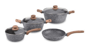 Grey Granite Coated Aluminum Sauce Pans with Wood-Look Handles pictures & photos