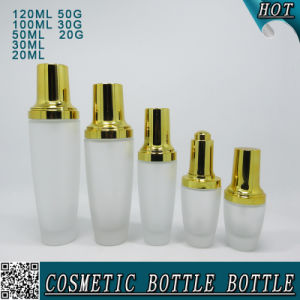 Gold Lids Frosted Glass Cosmetic Cream Jar and Glass Bottle pictures & photos