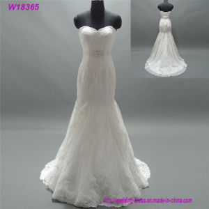 Wedding Dresses Mermaid with Belt Floral Lace Appliques Low Back High Quality pictures & photos