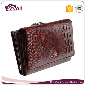 Crocodile Grain Wallet with Printed Butterfly, Woman Genuine Leather Wallet High Quality pictures & photos