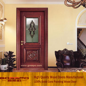 Tempered Glass Wood Door Interior Wooden Room Door (GSP3-006) pictures & photos