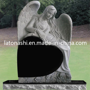 Shanxi Black and Grey Granite Reclining Angel Heart Headstone / Tombstone pictures & photos
