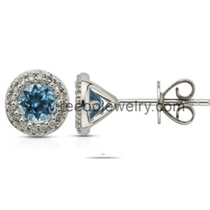 Aquamarine Color March Birthstone CZ Stud Earring (E019)