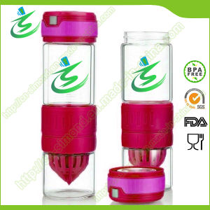 600ml BPA Free Circus Zinger, Glass Lemon Water Bottle pictures & photos