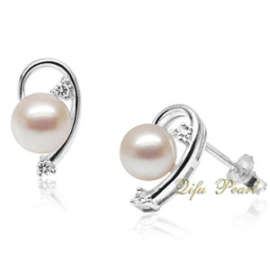 925 Silver Rhodium Plated Freshwater Pearl Earring (PAE0401)