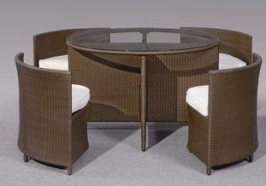 Outdoor Garden Rattan Furniture, 5PCS Wicker Round Dining Set