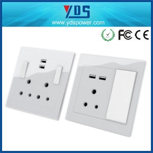 South African USB Wall Socket with Double USB Ports Socket pictures & photos