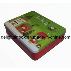 Christmas Rectangular Metal Tin Gift Box/Can (DL-RT-0256)