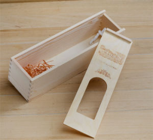 Sliding Lid Pine Wood Box for Wine with Window pictures & photos
