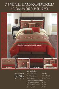 Embroidery Brushed Fabric 7PCS Comforter Set Luxury Bedding