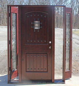 Exterior Knotty Alder Wood Door with Wrought Iron and Side Lite pictures & photos