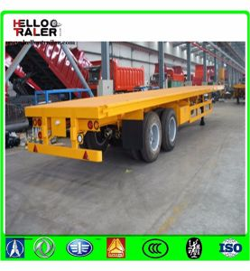 Chinese 40 Ton Tri Axle 40 Foot 20 Foot Flatbed Container Semi Trailer pictures & photos