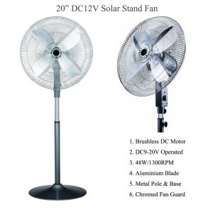 Solar and Battery Operated DC 12volt Office Stand Fan 48W pictures & photos