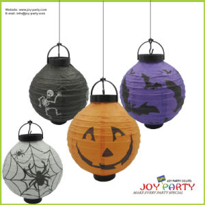 Batteries Round Paper Lanterns with LED Light for Holloween Decoration