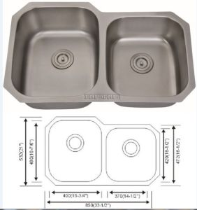 Stainless Steel Sink 8553L, Undermount 60/40 Kitchen Sink pictures & photos