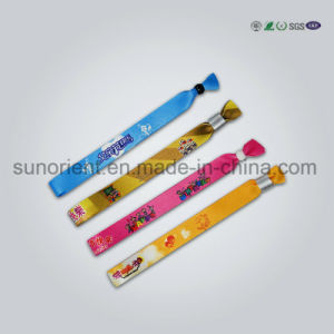 One-Time Use Custom Slide Lock Fabric Woven Wristband for Events pictures & photos