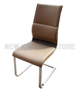 Modern Cheap European Style Chrome Steel Foot PU Leather Dining Chair (NK-DC027) pictures & photos