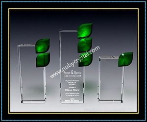 "Green Crystal Leaf Plaque Award 8.5"" H (NU-CW694) pictures & photos"
