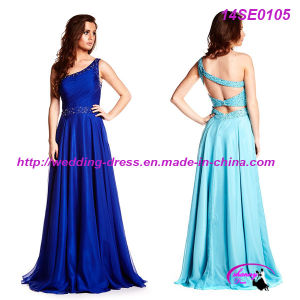 Hot Sale Full Length One Shoulder Evening Dress with Beading pictures & photos