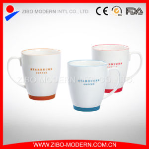 White Mug with Colored Rim and Bottom in Logo Imprint pictures & photos