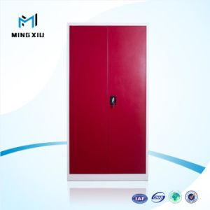 Luxury Red 2 Swing Door Almirah with Vanity Mirror Designs Steel Armoire Home Furniture Bedroom Steel Wardrobe pictures & photos