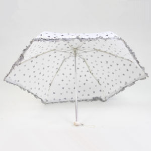 5 Fold Super Mini Umbrella with Lace Edge