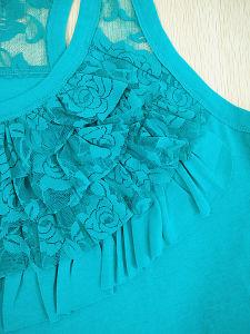 Big Yards Knit Women Lace Design Vest T-Shirt pictures & photos