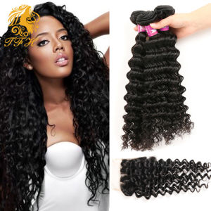 7A Brazilian Virgin Hair with Closure Curly Deep Wave Human Hair Weave and Hair Products 3/4 Bundles with Lace Closure pictures & photos