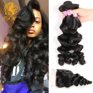 Peruvian Loose Wave with Closure 4 Hair Bundles with Lace Closure Peruvian Virgin Hair with Closure Loose Wave with Closure pictures & photos
