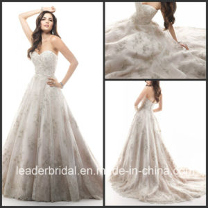 Beading Wedding Gown Silver Lace Embroidery Bridal Wedding Dress W15216 pictures & photos