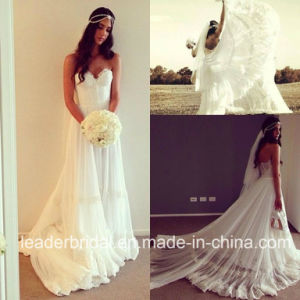 Strapless Wedding Dress Lace Bohemian Bridal Gown Wd154 pictures & photos
