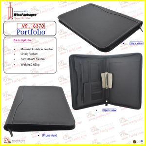 PU Leather Zippered Portfolio (6370) pictures & photos