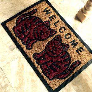 Woven Panama Nature Fiber Emboss Mould Engraved Rubber Back Non Slip Coco Coir Coconut Fiber Door Mats pictures & photos