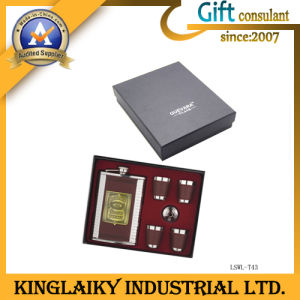 Steel Wine Flask Gift Set with Logo for Gift (LSWL-T43) pictures & photos