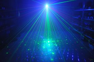 Christmas Mini Laser Light 350MW Rgbg 8gobos Laser and 3W Blue LED Light with Remote Control pictures & photos