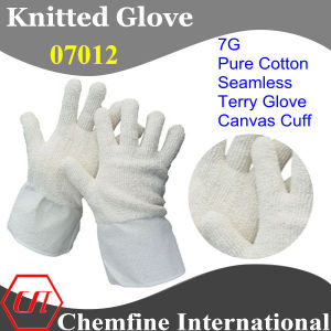 7g White Pure Cotton Terry Knitted Glove with Canvas Cuff pictures & photos