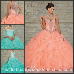 Teal Blue Coral Organza Ruffed Ball Gown Cap Sleeve Quinceanera Dress Ld15212 pictures & photos