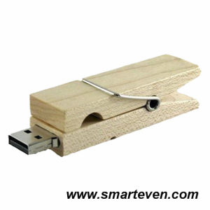 Clothes-Pin Shaped Wood USB Flash Driver (S-U-W011)