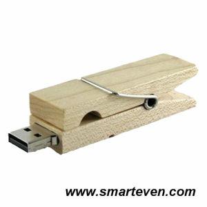 Clothes-Pin Shaped Wood USB Flash Driver (S-U-W011)