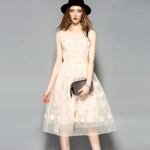 Fashion Sleeveless 3D Petals Pattern Pleated Jiont Party Dress pictures & photos