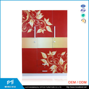 Luoyang Mingxiu Metal Big Printing Flower Wardrobe Steel Furniture Steel Almirah Price pictures & photos