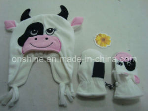 Polar Flece Cow Hat and Cow Mitten