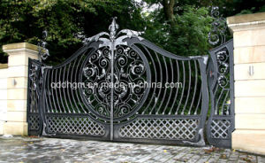 Used Beautiful Decoration Galvanized Wrought Iron House Main Gate/Steel Driveway Gate pictures & photos