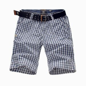 100% Cotton Print Gingham Men′s Shorts with Belt (MBE311215) pictures & photos