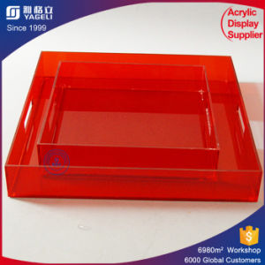 Best Selling Acrylic Serving Tray with Handle pictures & photos