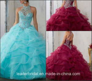 Halter Wedding Ball Gown Beading Tulle Quinceanera Dress Ld15224 pictures & photos