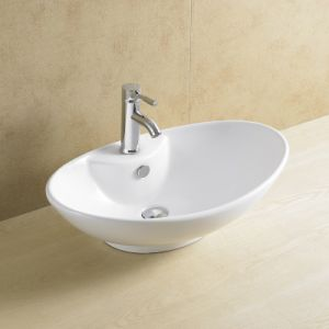 Oval Bathroom Basin with Single Faucet Hole 8114 pictures & photos