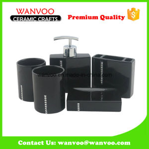 Black Ceramic Bathroom Accessories with Defferent Color Crystals pictures & photos